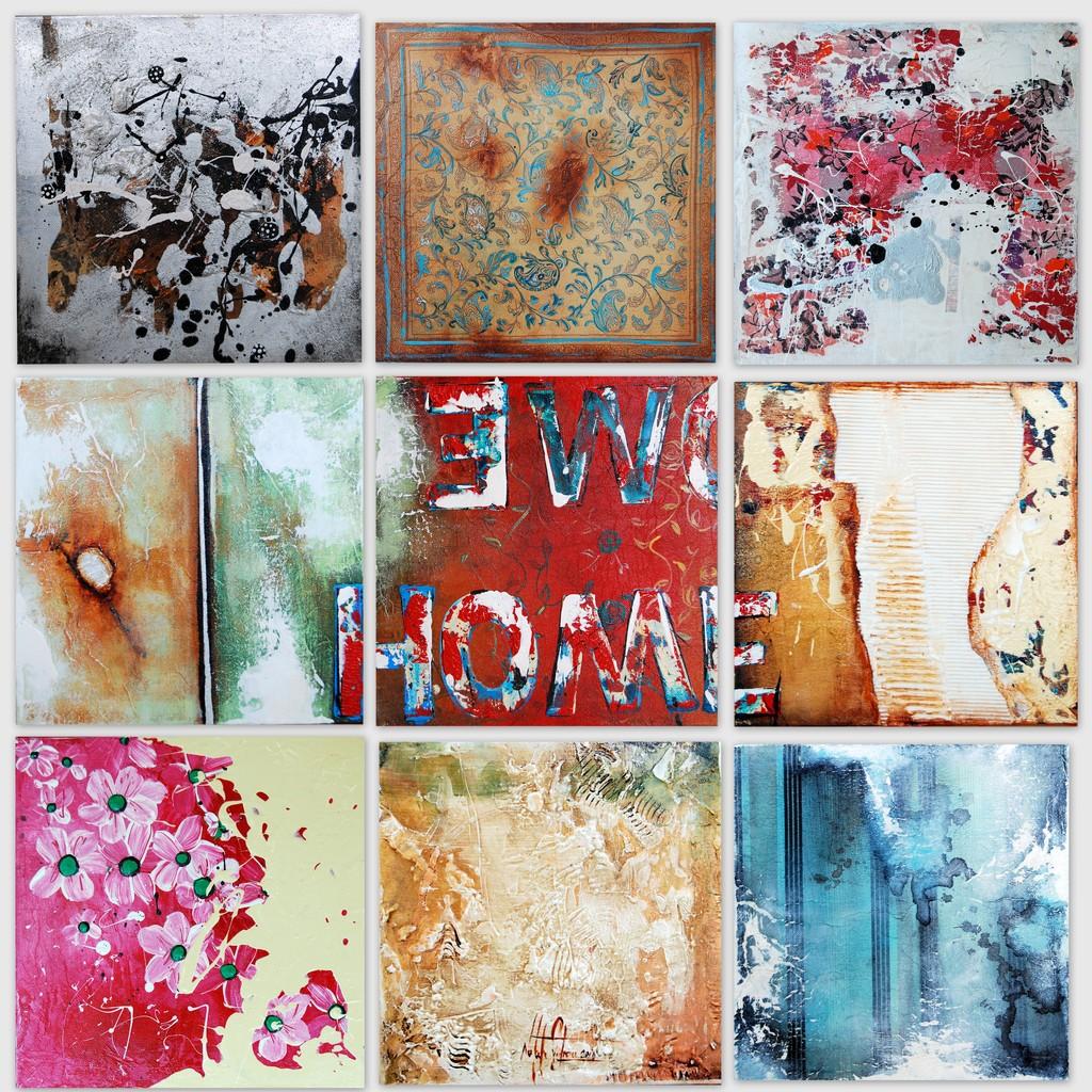 Buntes 1-9  Acryl, Blattsilber, Struktur Collage auf Leinwand. Galeriekeilrahmen