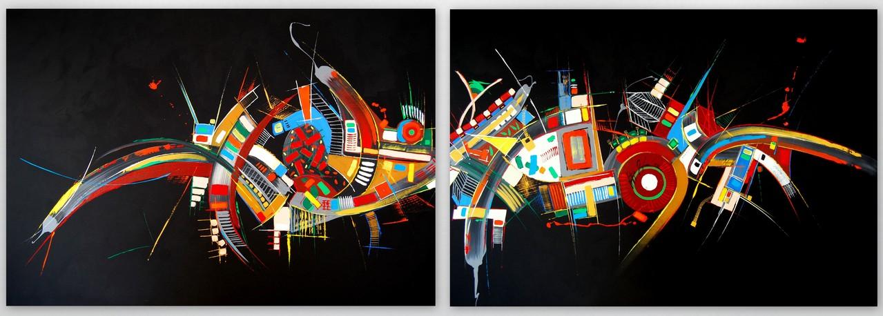 200 x 70 cm 2.teilig Acryl auf Leinwand, Galeriekeilrahmen.
