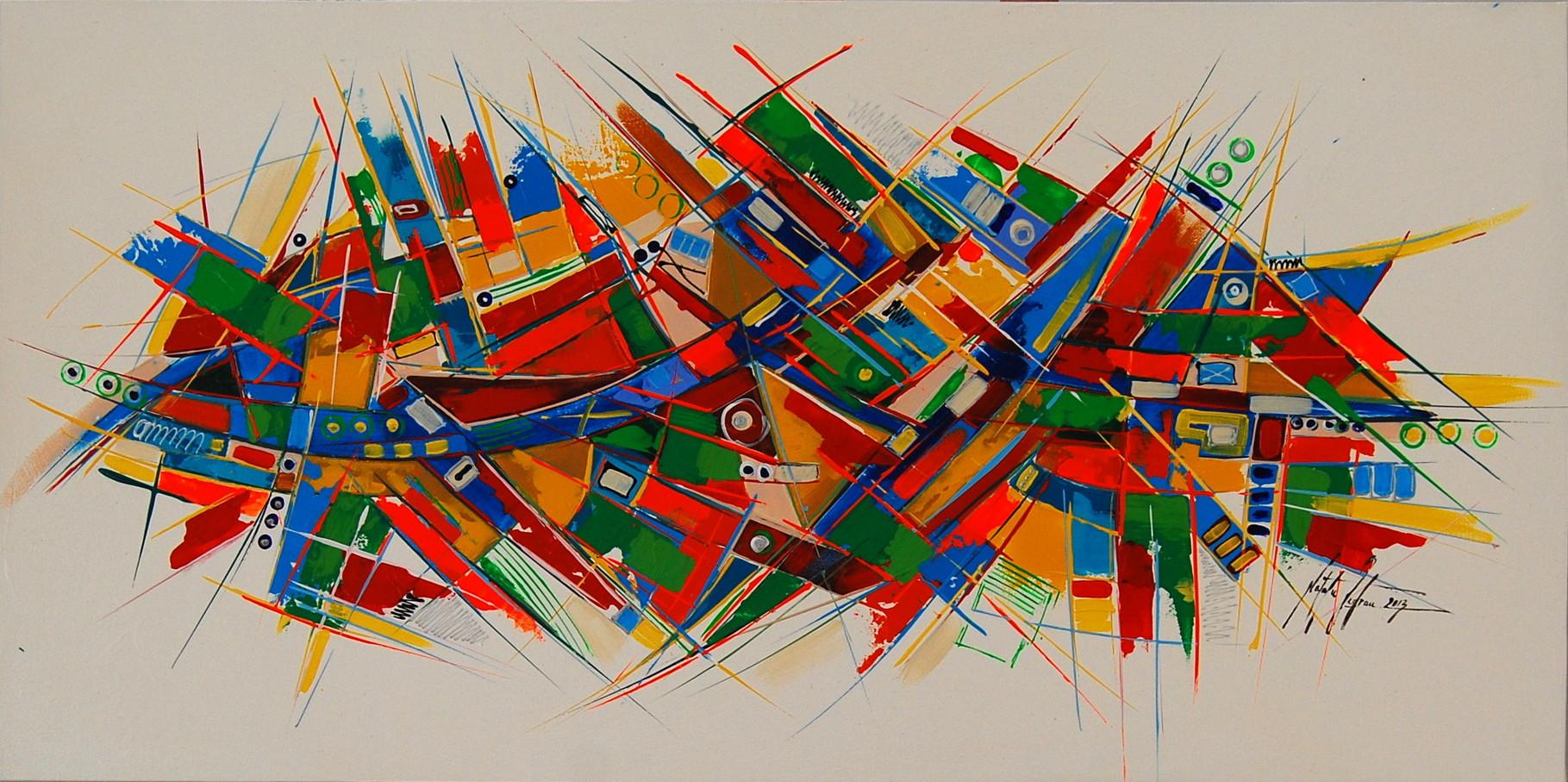 100 x 50 cm Acryl auf Leinwand, Galeriekeilrahmen.