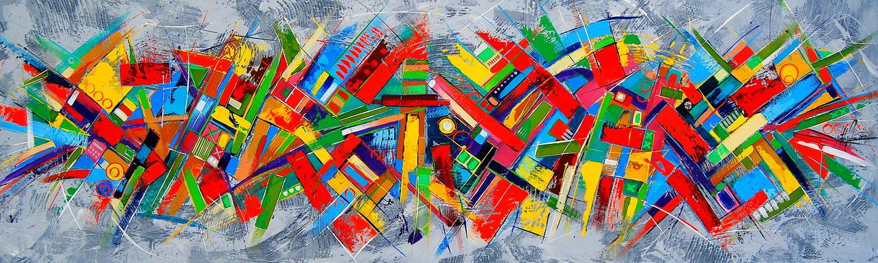 200 x 60 cm Acryl auf Leinwand, Galeriekeilrahmen.