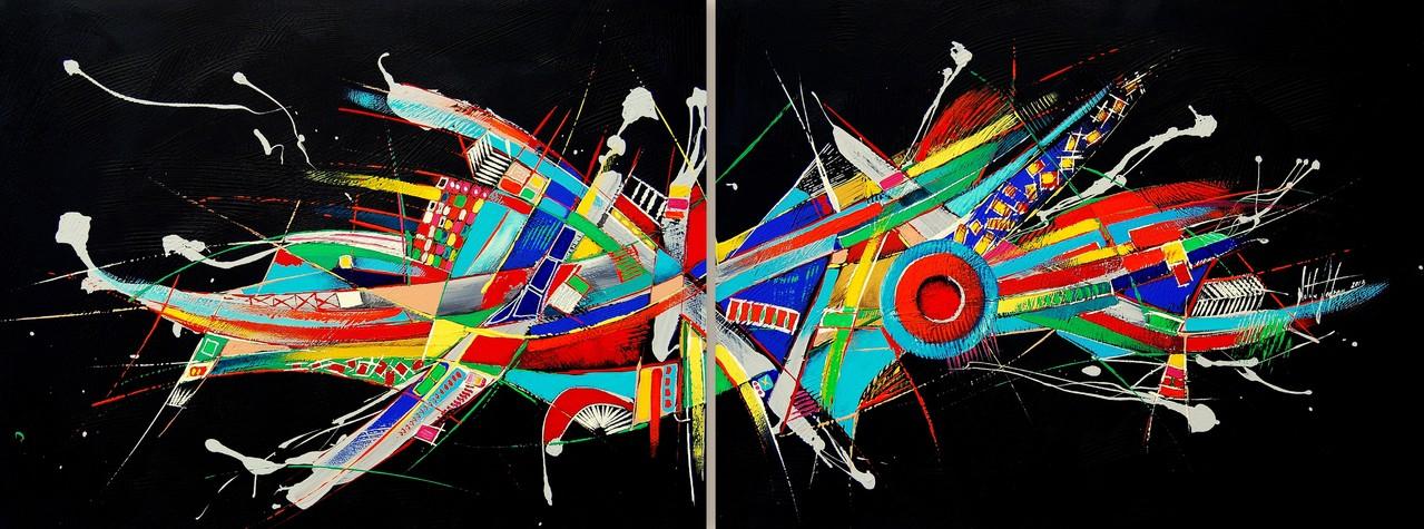 160 x 80 cm Acryl auf Leinwand, Galeriekeilrahmen.
