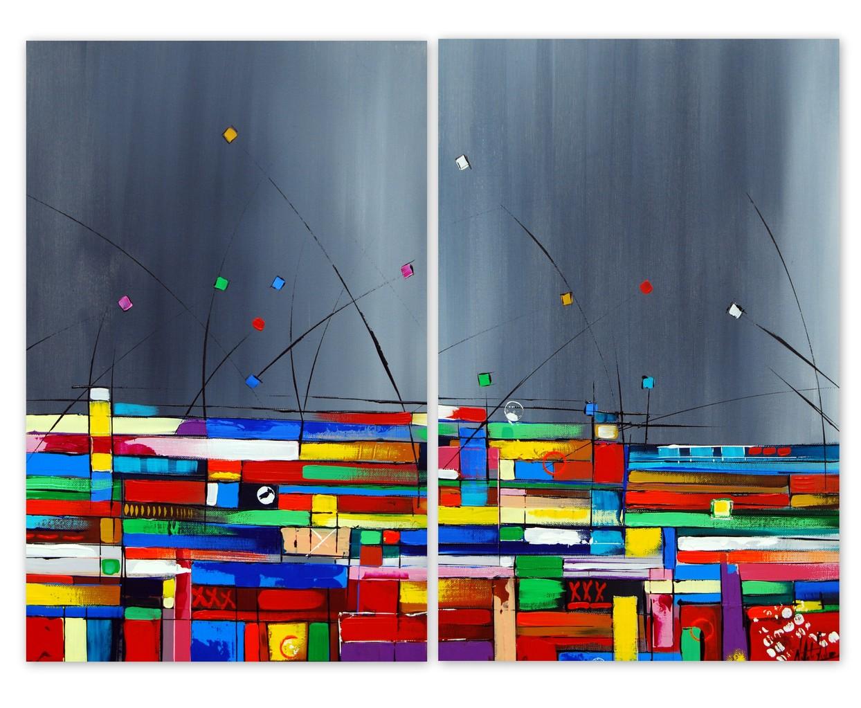 80 x 60 cm 2.teilig. Acryl auf Leinwand, Galeriekeilrahmen.