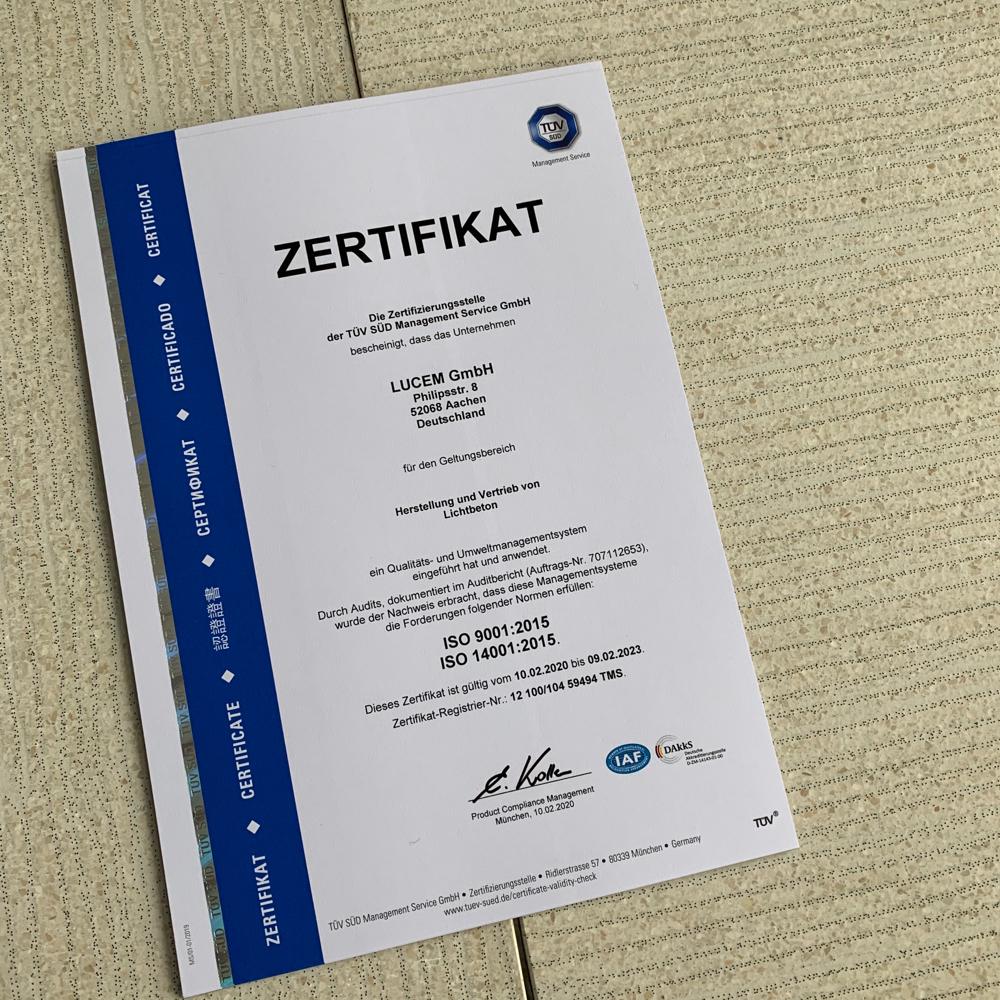 LUCEM ISO 9001 zertifiziert