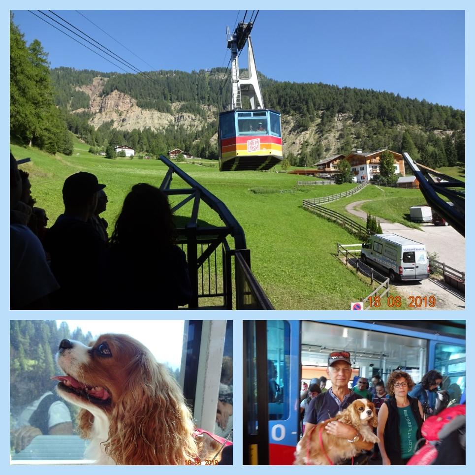 """Mit dieser Kabinenbahn sind wir heute früh auf den Kamm (ähnlich einer großen Almwiese) gefahren. Von dort in 2000 m Höhe gibt es ein dichtes Netz an Wanderwegen durch die Dolomiten, von leicht bis schwierig, umgeben von den allerschönsten Dolomitengipfeln. Wir haben uns an das Wort von J.W. v. Goethe gehalten, der sagte : Nur wo du zu Fuß warst, bist du auch wirklich gewesen."""""""