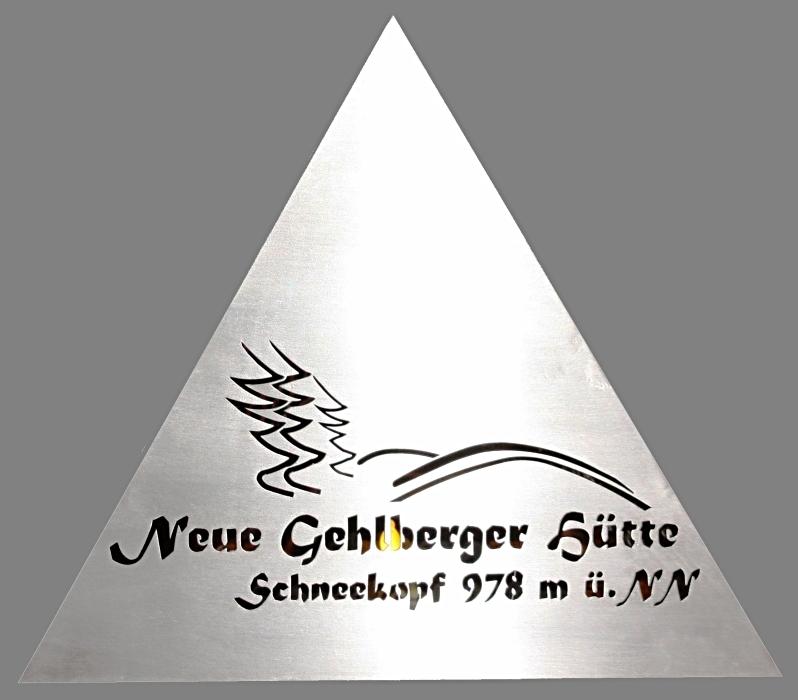 """Beleuchtete Edelstahl-Pyramide """"Neue Gehlberger Hütte"""" Schneekopf"""