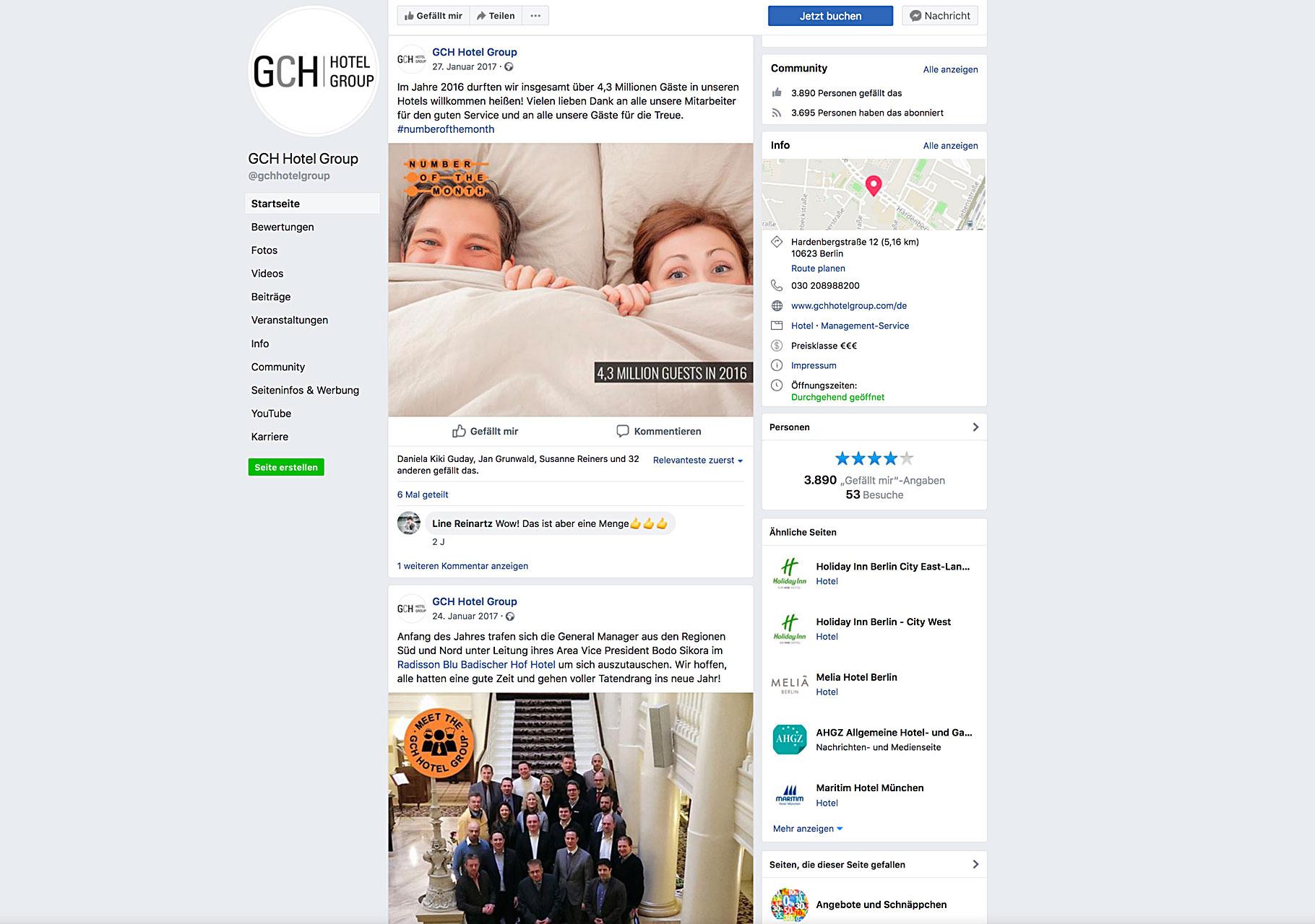 """Screenshot Facebookseite mit Grafiken """"Number of the month"""" und """"Meet the GCH Hotel Group"""""""