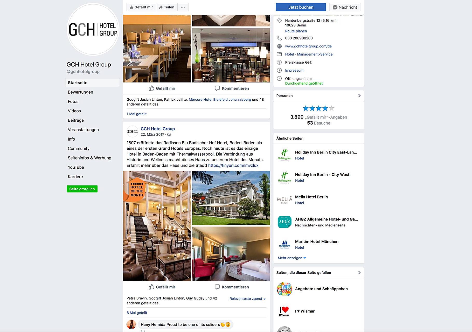 "Screenshot Facebookseite mit Grafik ""Hotel of the month"""