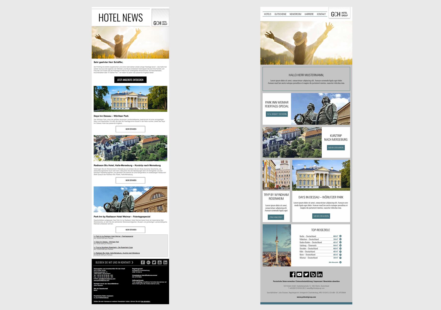 Links: Newsletter alt I Rechts: Redesign