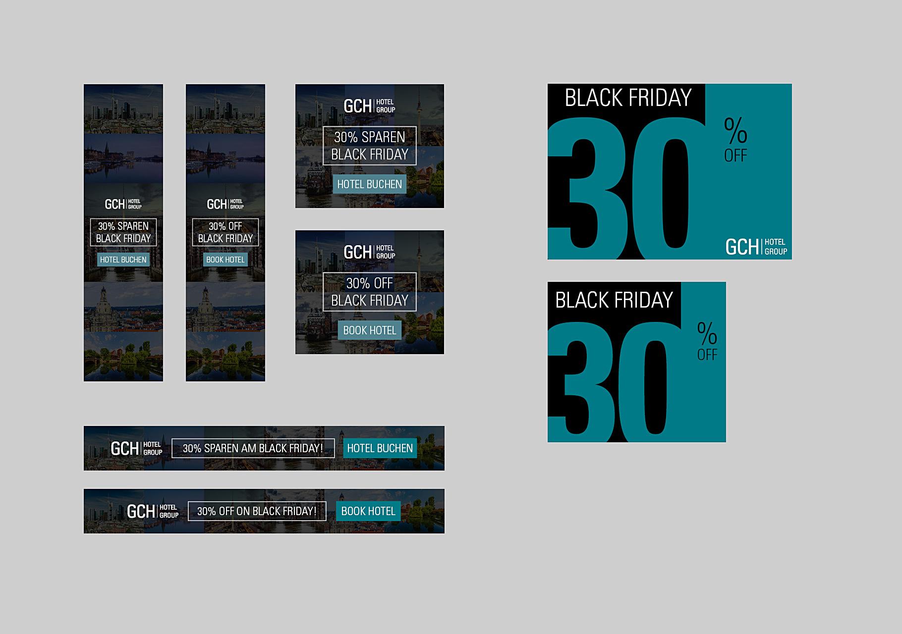 Übersicht Banner für Black Friday 2018, erstellt für Facebook, Website, Newsletter sowie Google Ads