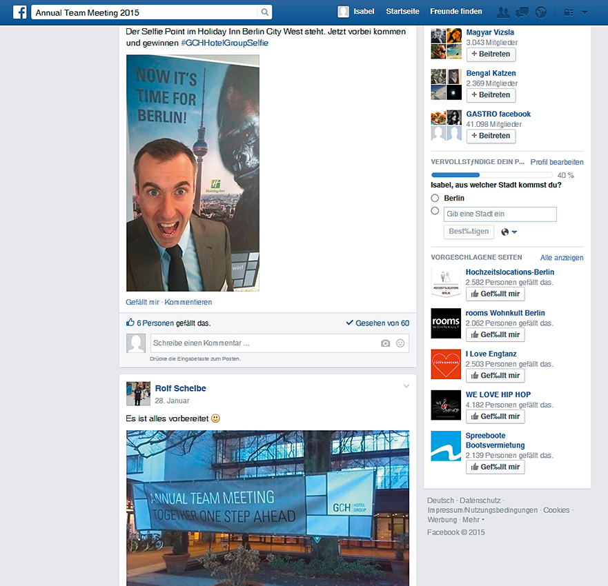 Postings auf der Facebookseite, eigens des Annual Team Meetings 2015
