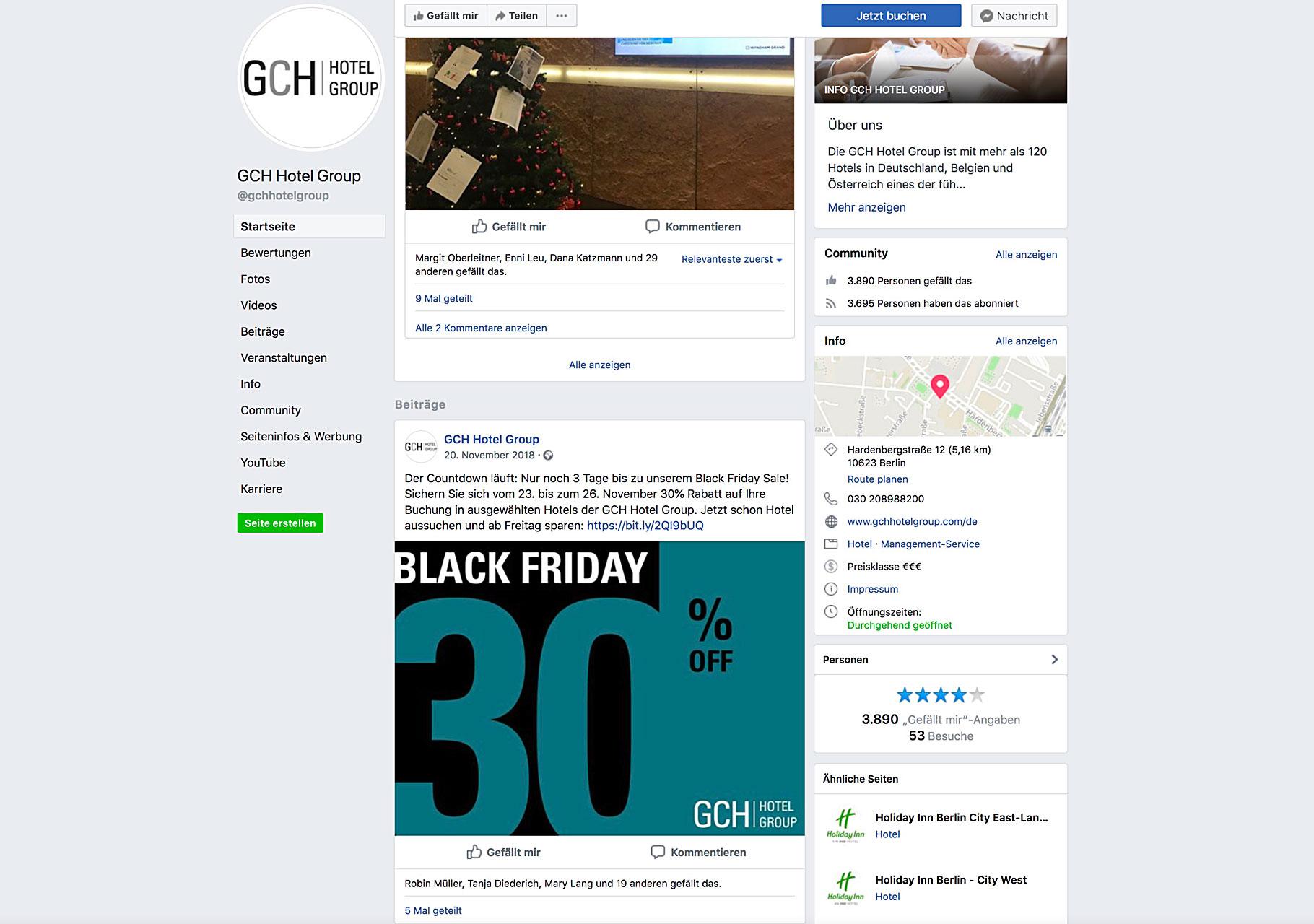Banner veröffentlicht auf der Facebookseite der GCH Hotel Group