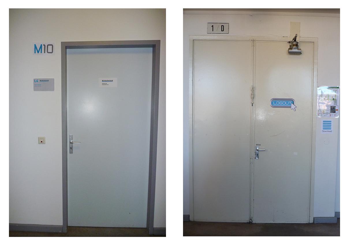 Beschilderung für Türen & für den Ausgang der Hochschule