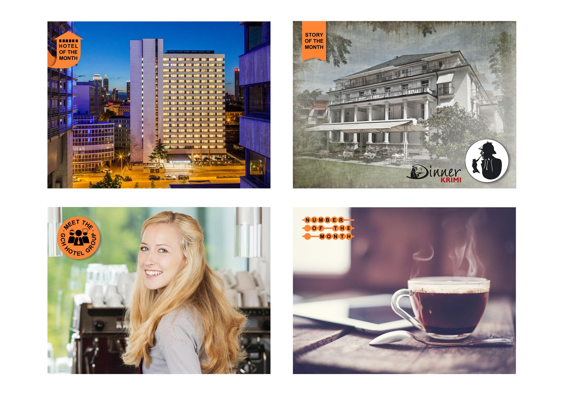 Übersicht der Grafiken und Kategorien für die Facebookseite der GCH Hotel Group