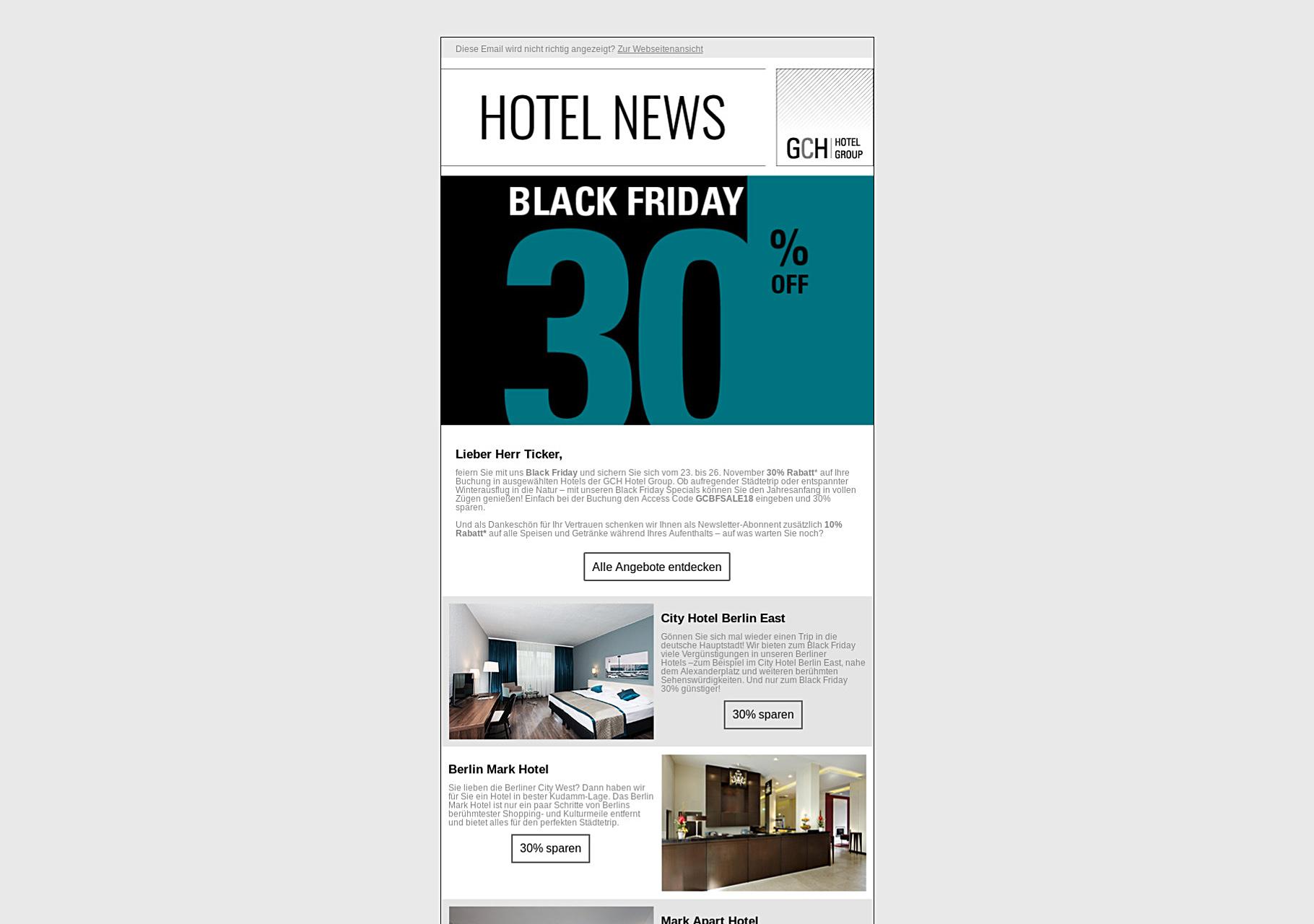 Banner veröffentlicht im Newsletter der GCH Hotel Group