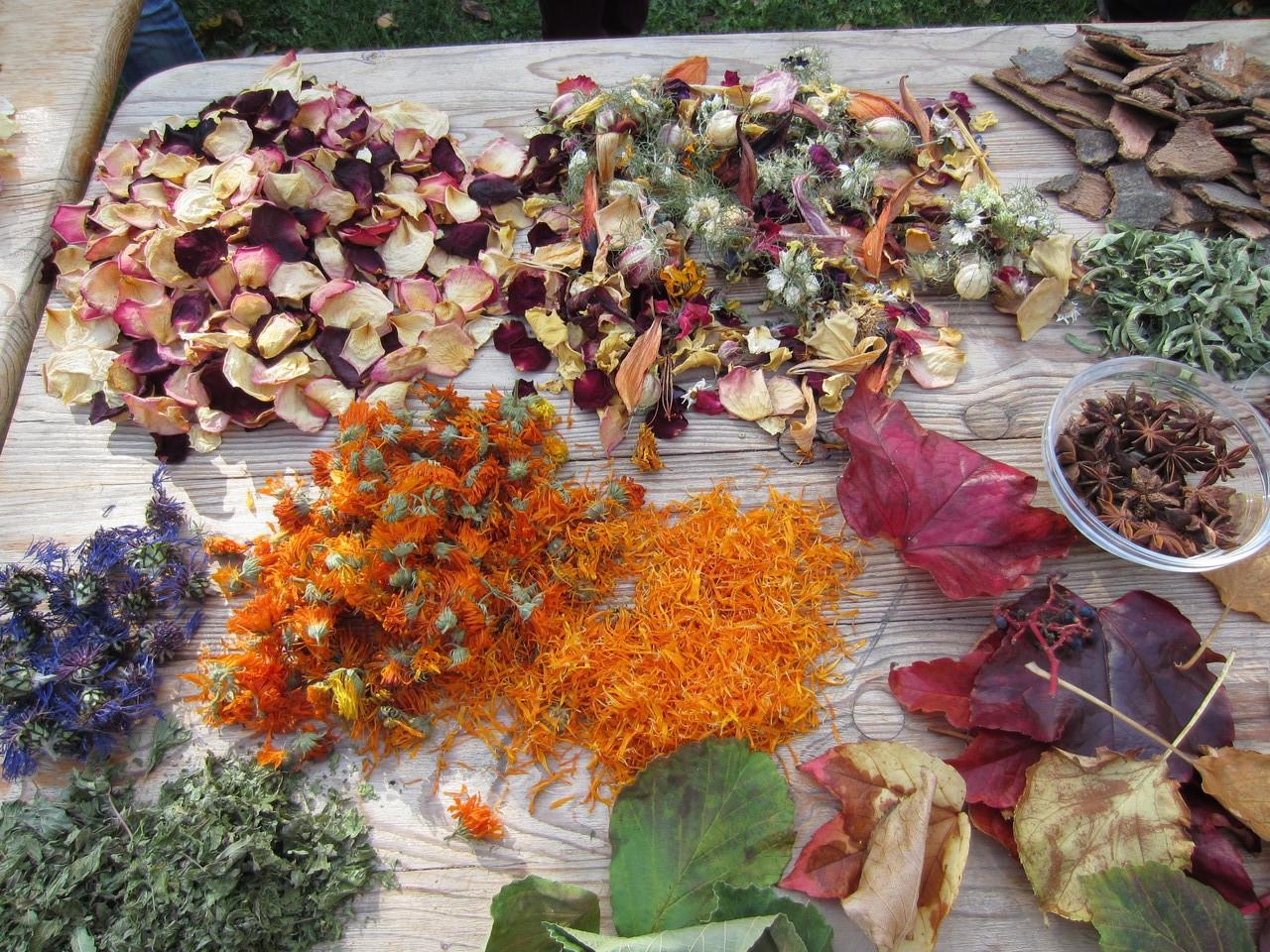 Ein Tisch voller Blüten