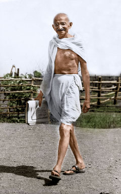 Mahatma Gandhi walking at Satyagraha Ashram, Sevagram, 1945.