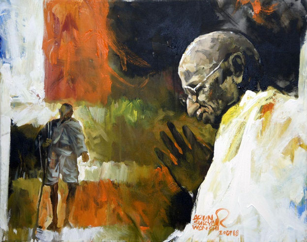 Contribution to the exhibition 'Mahatma Gandhi and World Peace' by painter Arun Suryawanshi.