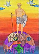 "Gewinnerbild des Malwettbewerbs ""Mahatma Gandhi - As I see him"" in Rajkot, Gujarat."