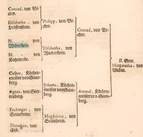 Die Familie von Wiederstein im Stammbaum derer von Bicken