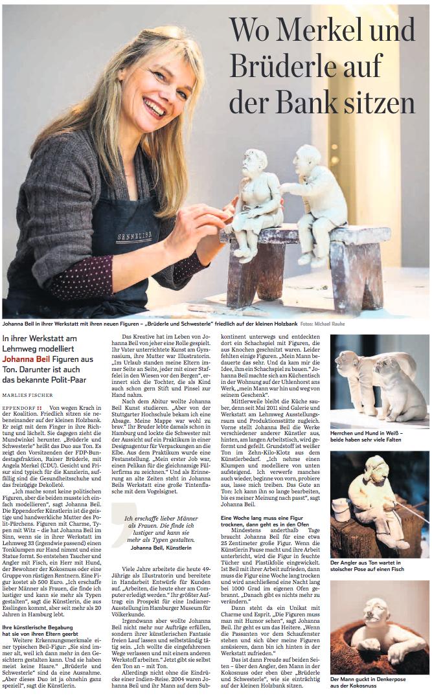 Wo Merkel und Brüderle auf der Bank sitzen /  Hamburger Abendblatt / Freitag, 17. Mai 2013