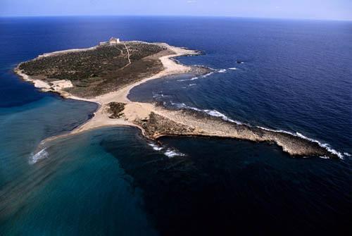 vista aerea dell'isola di Capo Passero
