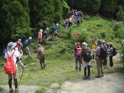 垂玉温泉からの道と出会付近で、行列となった