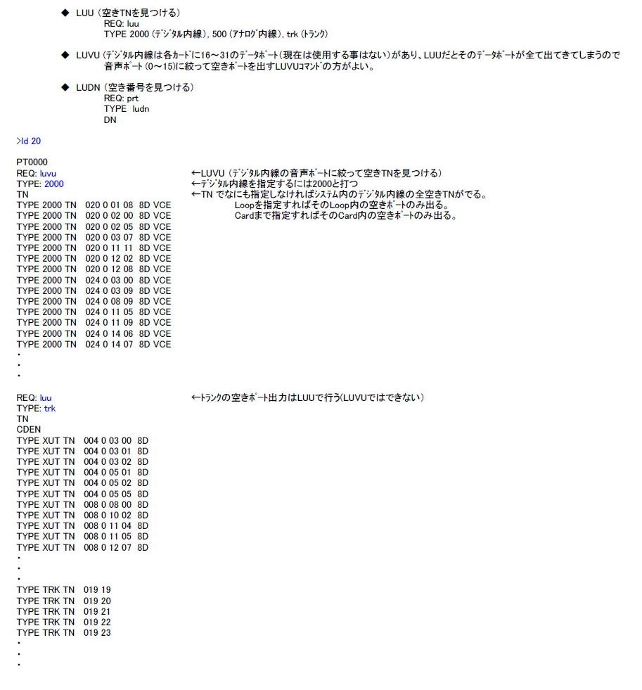 LD 20 空きTN(収容位置)や空きDN(番号)を見つける 説明図