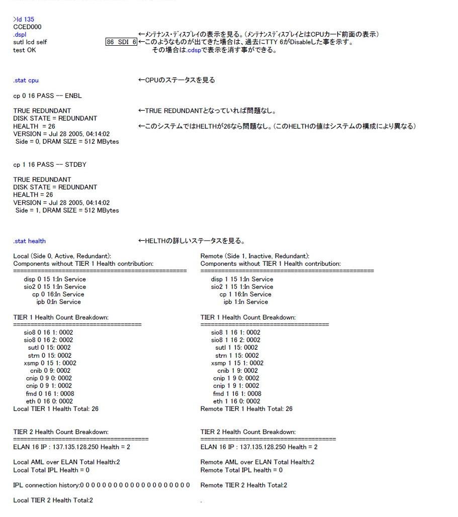LD135 Core系 : CPU, SUTL, CNI のステータスチェック 設計図