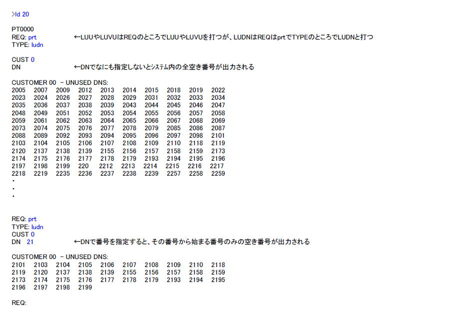 LD 20 空きTN(収容位置)や空きDN(番号)を見つける 説明図2