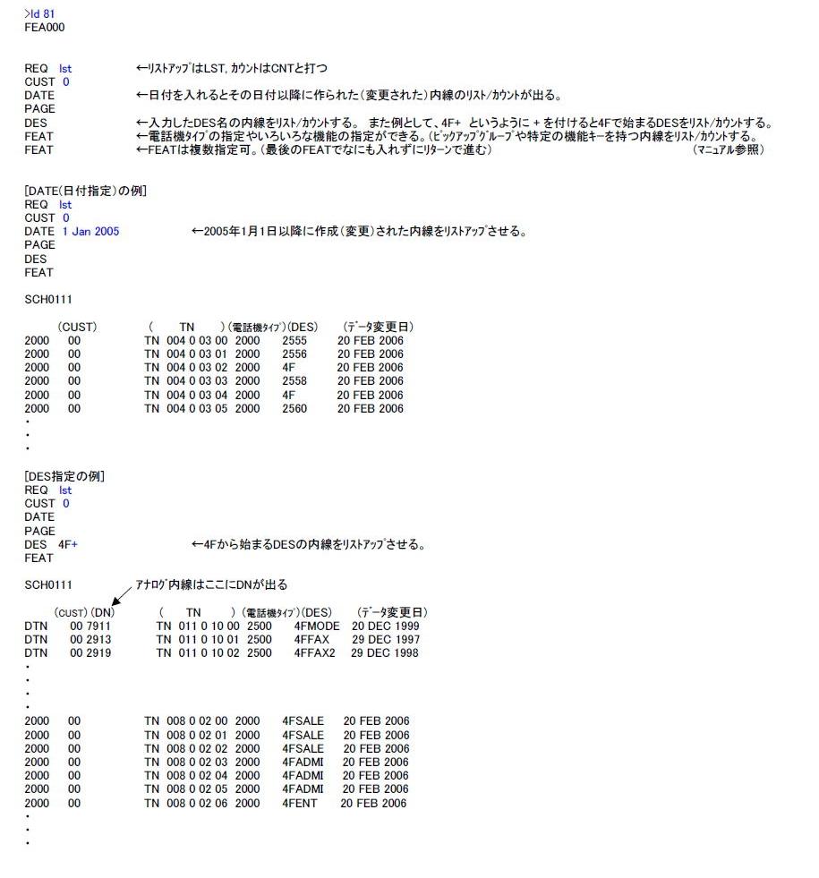 LD 81(内線と機能のリストアップ) 説明図