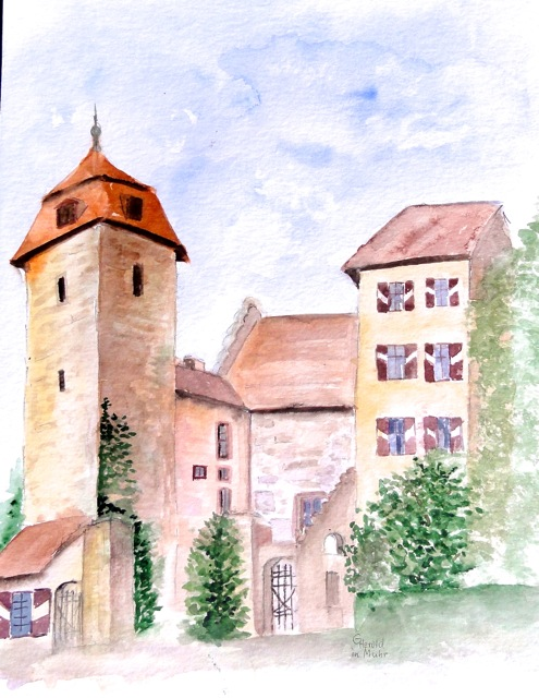 Aquarell :Schloss Muhr in Franken