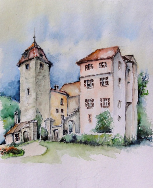Aquarell Schloss Muhr in Franken II