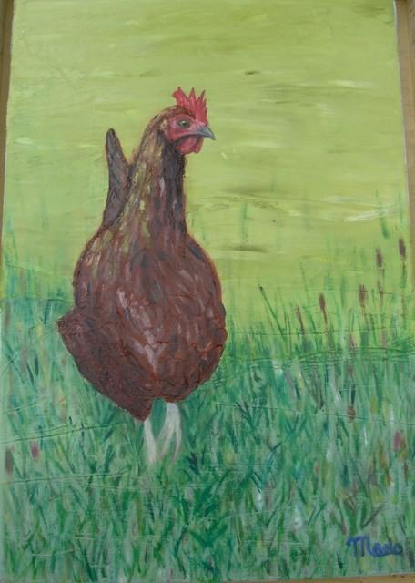 La poule rousse - peinture à l'huile de MaDo