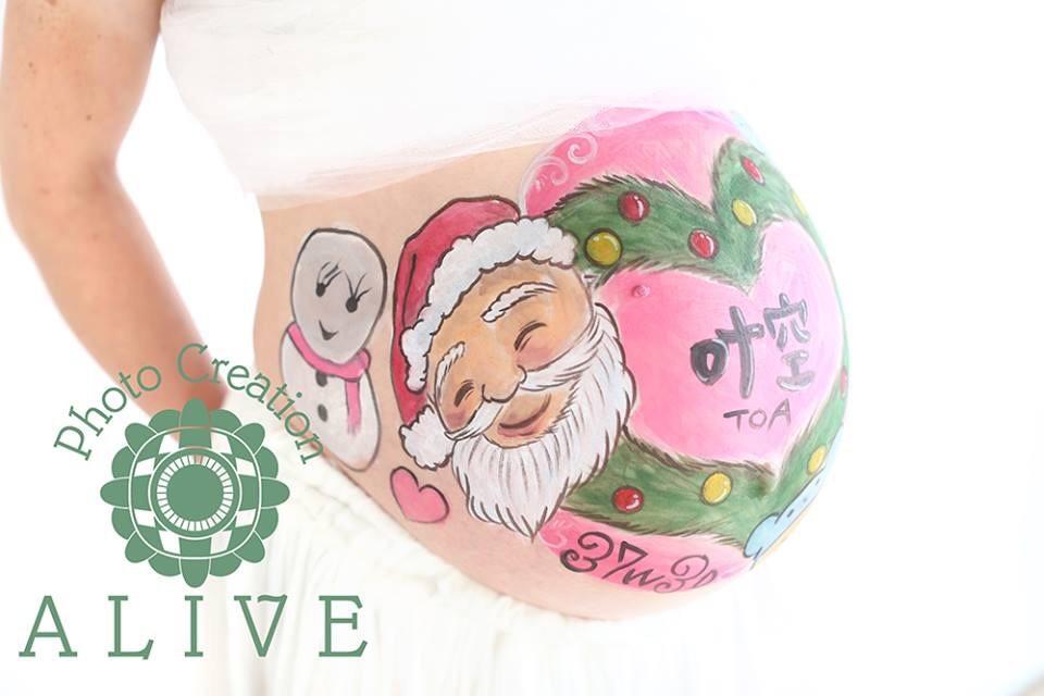 ベリーペイント、マタニティペイント サンタクロース クリスマスバージョン♡
