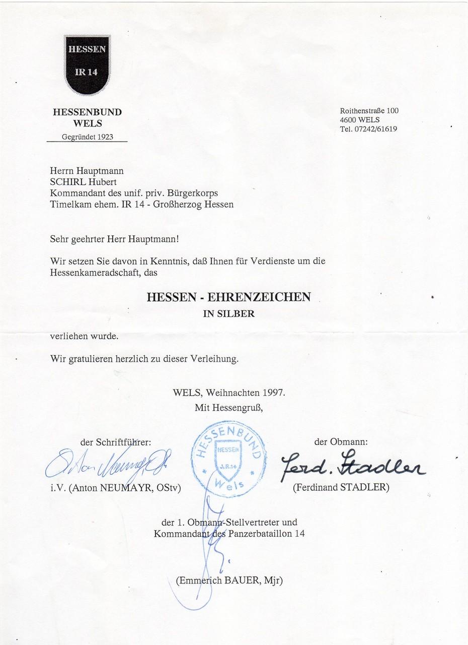 Hessen-Ehrenzeichen in Silber, am 12.1997 in der Hessenkaserne Wels