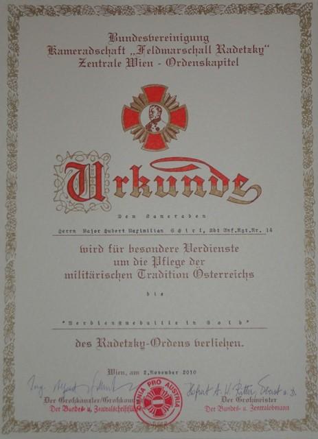 Verdienstmedaille in Gold des Radetzkyordens,am 2.11.2010