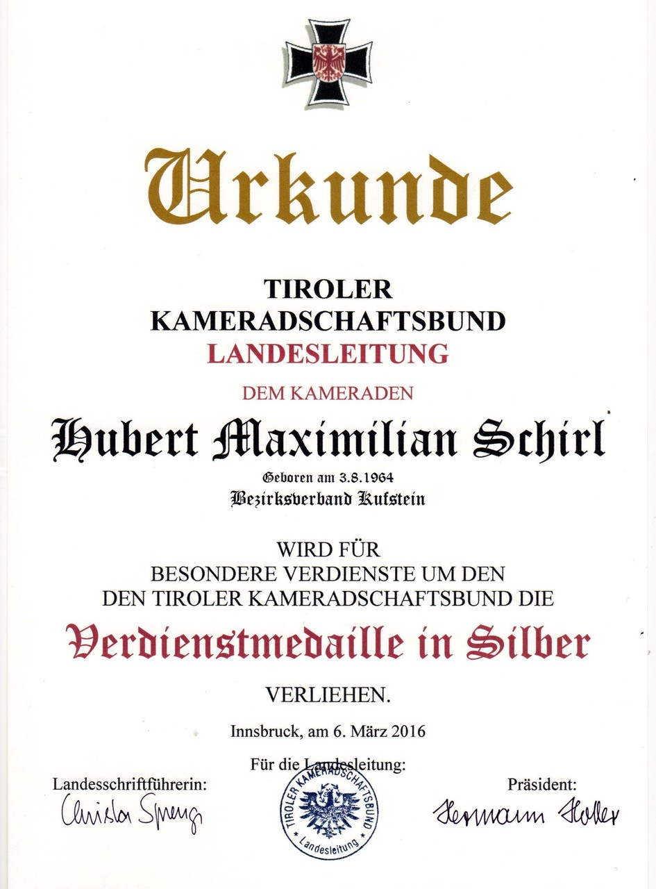 Kameradschaftsbund Tirol-Verdienstmedaille in Silber, am 6.3.2016