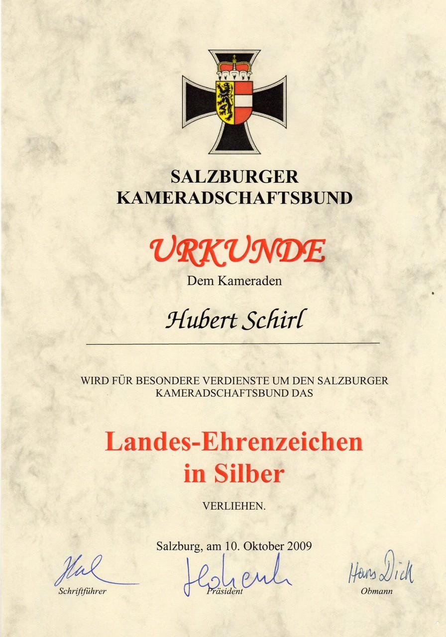 Kameradschaftsbund Salzburg-Landesehrenzeichen in Silber, am 10.10.2009
