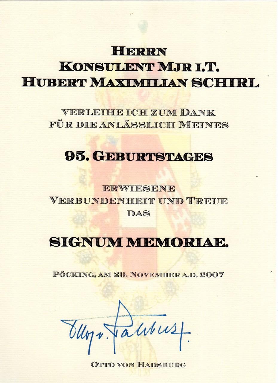 Signum Memoriae Erzherzog Dr. Otto von Habsburg, am 20.11.2007