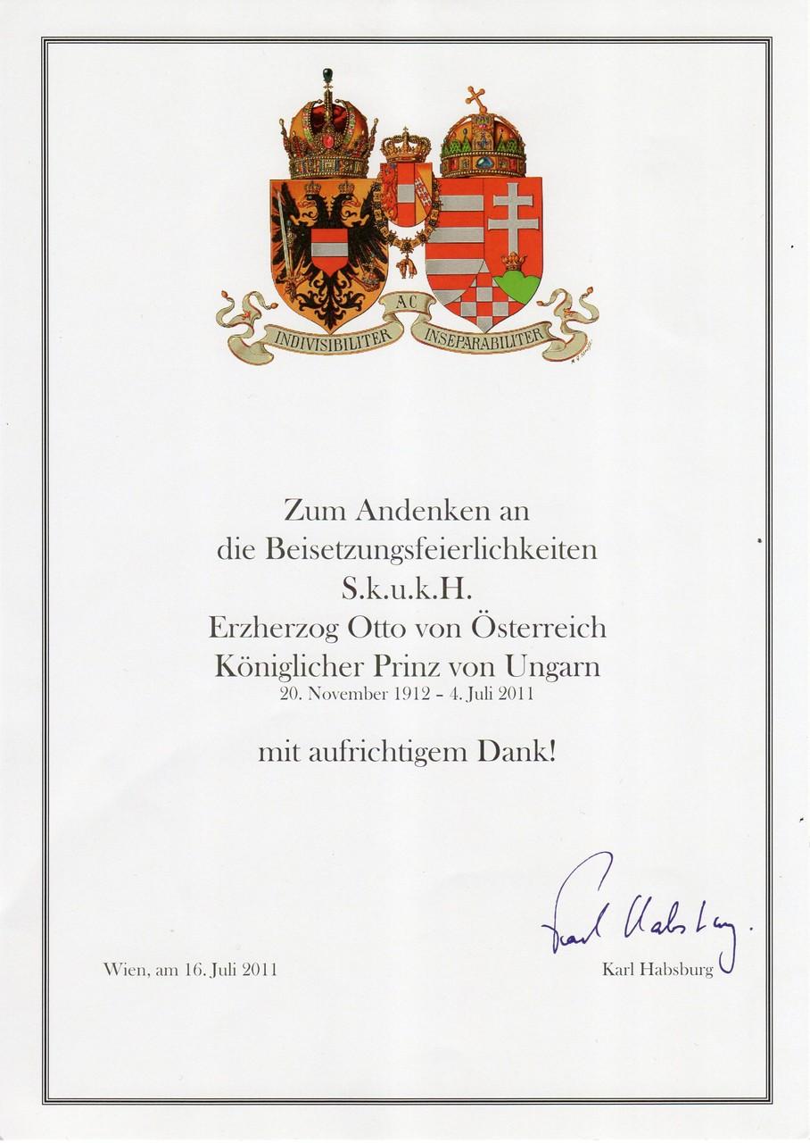 Gedenkmedaille an Se k.u.k. Hoheit Erzherzog Dr. Otto von Habsburg, am 16.7.2011