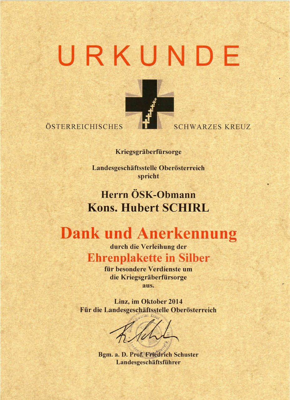 Österr. Schwarzes Kreuz-Ehrenplakette in Silber, am 17.10.2014 in der Hessenkaserne Wels