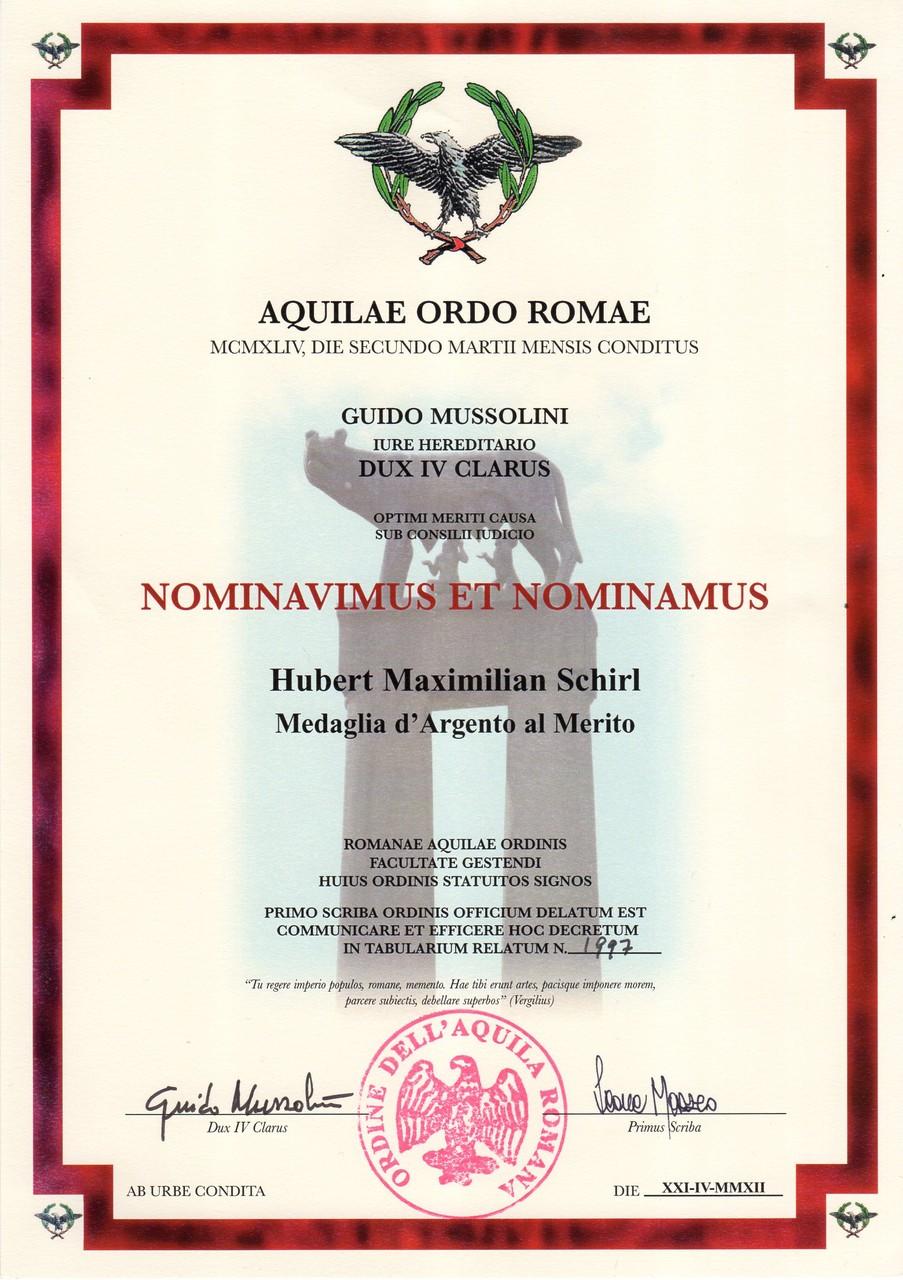 Aquilae Ordo Romae-Silberne Verdienstmedaille des Römischen Adlerorden, am 21.4.2012
