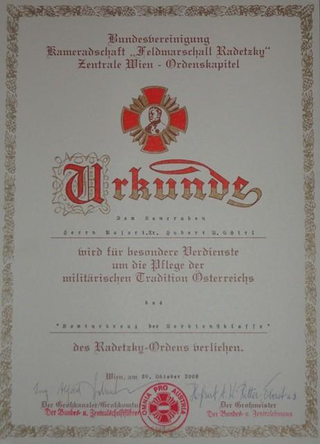 Komturkreuz mit Krone der Verdienstklasse des Radetzkyordens, am 24.10.2008
