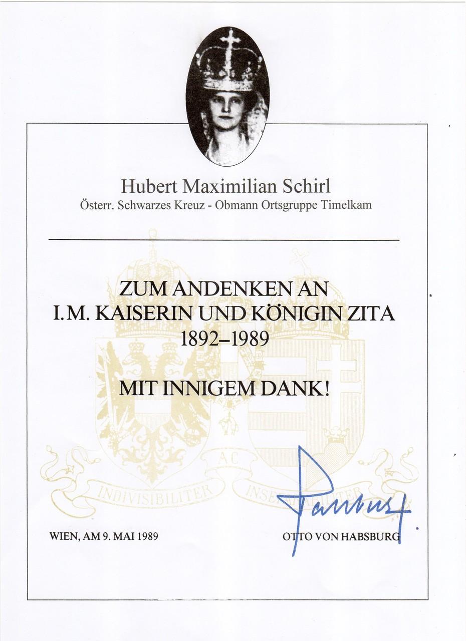 Kaiserin Zita Gedenkkreuz, am 9.5.1989
