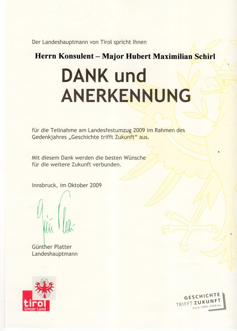 Landesfestzug Erinnerungsmedaille 1809-2009 in Innsbruck,am 30.10. 2009