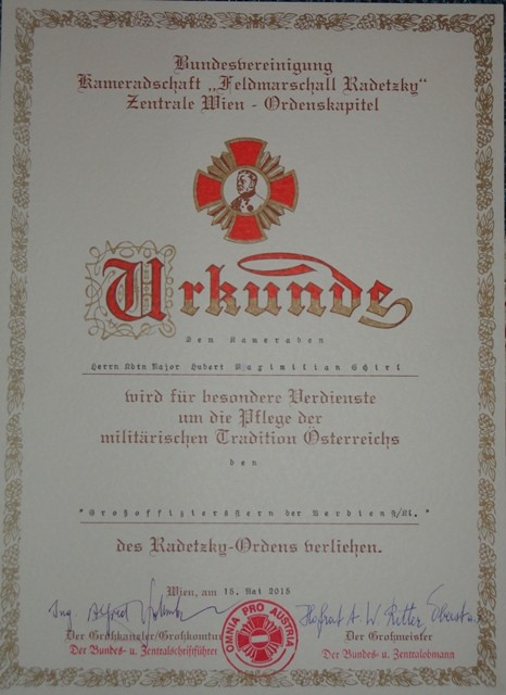Großoffiziersstern der Verdienstklasse des Radetzkyordens, am 15.5.2015
