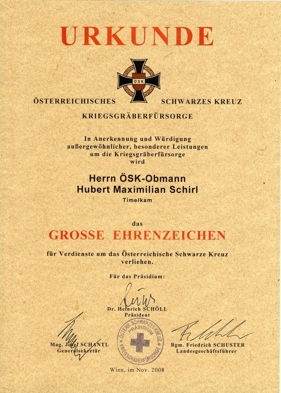 Österr. Schwarzes Kreuz-Großes Ehrenzeichen, am 3.11.2008