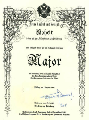Beförderungsurkunde von  Sr. k.u.k. Hoheit Erzherzog Dr. Otto von Habsburg am 17.8.2008
