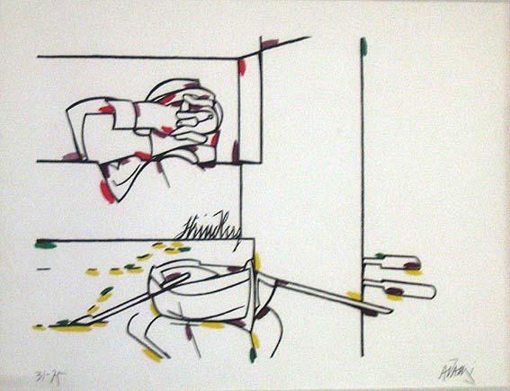 """VALERIO ADAMI, """"Strindberg"""", serigrafía 31/75, 54x76cm, 1970's."""