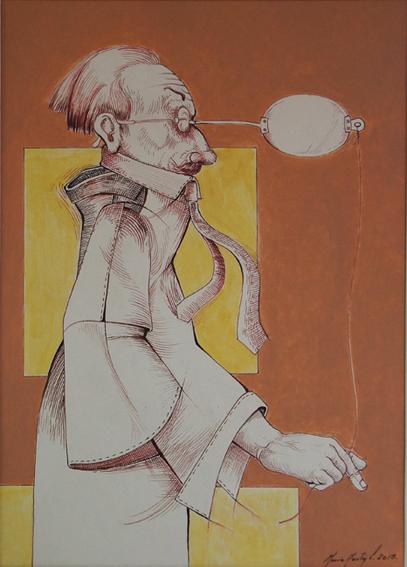 """MARIO MARTÍN DEL CAMPO, """"Pifas con gafas"""", tec.mixta/papel, 35x25cm, 2015."""